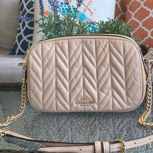 Coach Beige Nude Quilted Crossbody